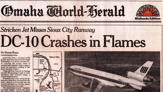 UA 232 Plane Crash - Sioux City, Iowa - SUX - DC-10 - United Airlines - Hydraulic Failure