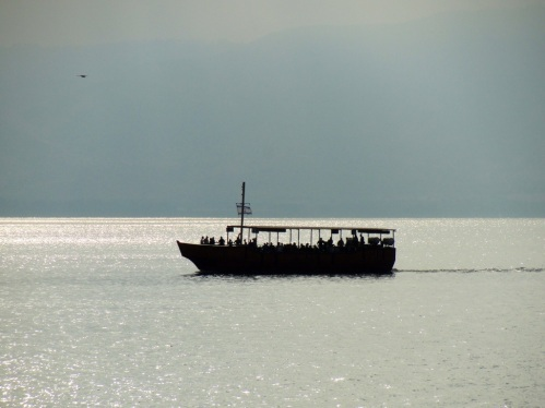 Boat on Sea of Galilee - Tiberias - Sea of Glilee Cruise - Silhouette of Boat on Water