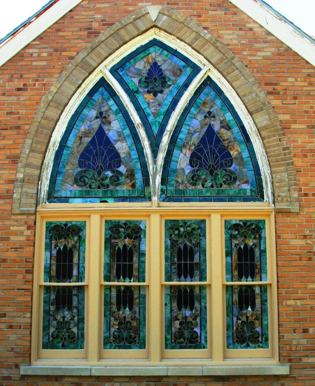 Hamburg Iowa Church of Christ Stained Glass Window