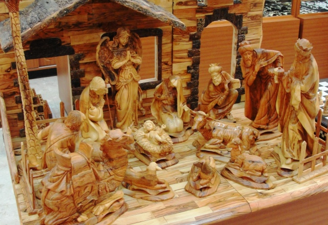 Large Olive Wood Nativity Scene from Bethlehem