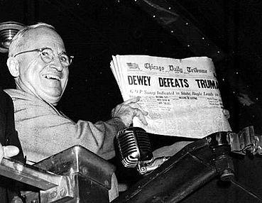 Harry Truman with the iconic Headline - Dewey defeats Truman - 1948 Election