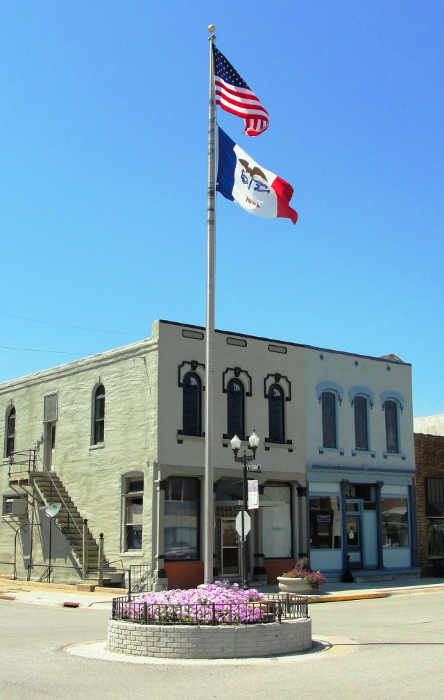 Flag Pole in Intersection - Hamburg, Iowa