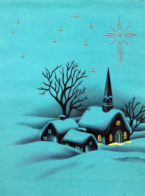 Classic Christmas Card 1960 - Church Building and Parsonage on a Silent Night - Snowy Christmas Scene