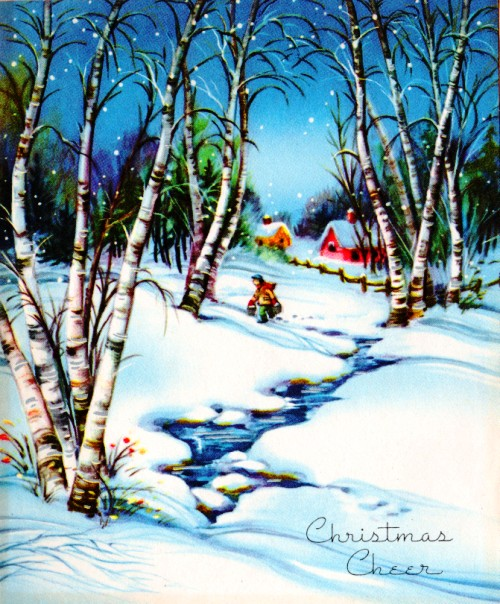 Christmas Cheer - Classic Christmas Cards - 1960 - Snowy woods