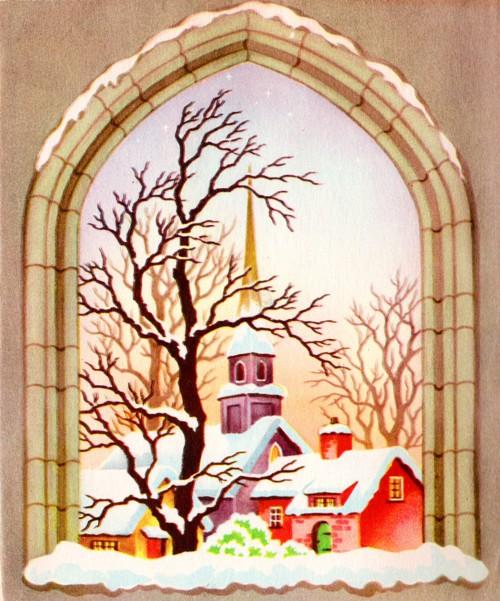 Classic Christmas Card 1960 - Church Building in Winter - Snowy Scene