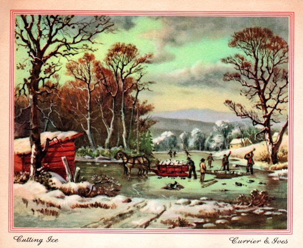 Cutting Ice - Currier and Ives - Wintertime activities