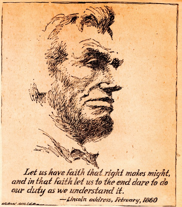 1960 Scrapbook Clipping - Abraham LIncoln - Frank Miller