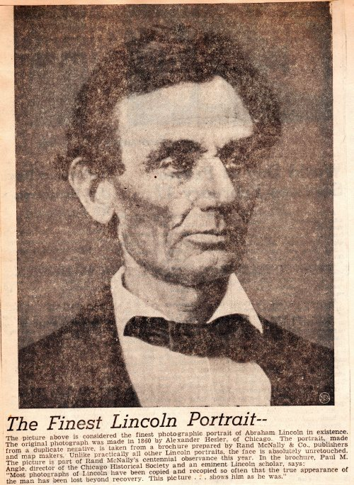 Lincoln Portrait - Newspaper Clipping - Alexander Hesler