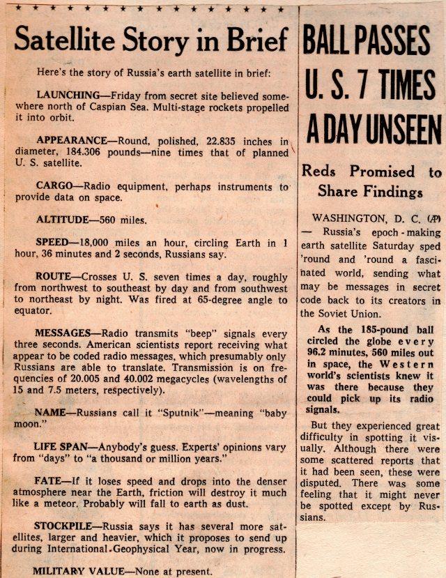 October 1957 Sputnik Newspaper Clippings First Satellite