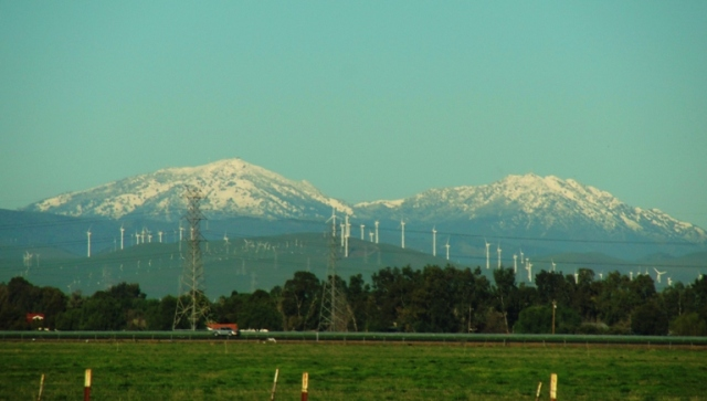 Snow on Mount Diablo - California Mountain - Windmills