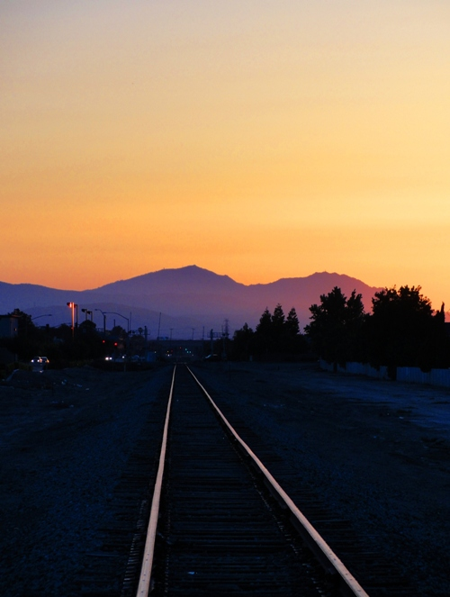 Mount Diablo at Sunset - Railroad Tracks into the sunset - California Sunset