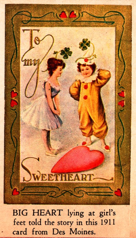 Century Old Valentine - 1911 Valentine Card - Sweetheart - Large Heart
