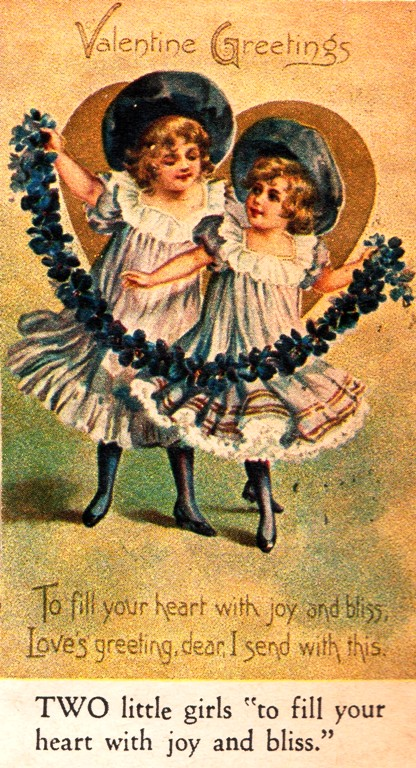 Century Old Valentine - Two Girls - Valentines Greetings - Old Cards - Twins - Valentine Card - Hats - Fill your heart