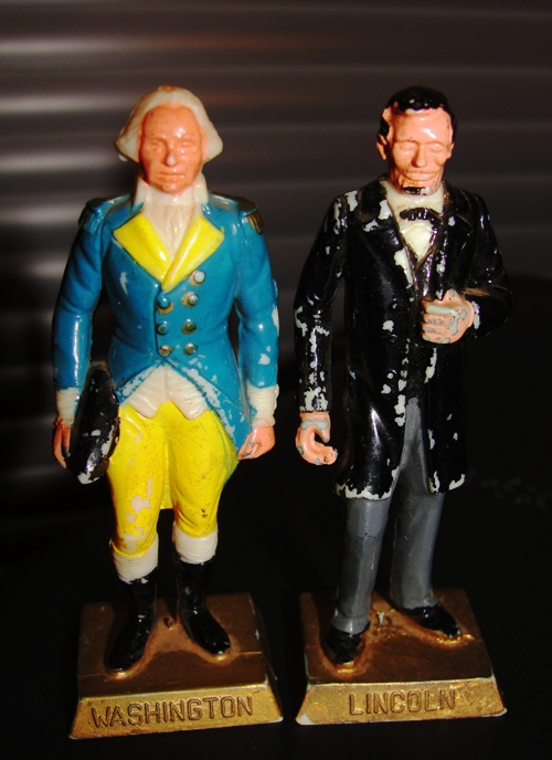 Presidents Washington and Lincoln - Presidents' Day - Marx Presidential Figurines