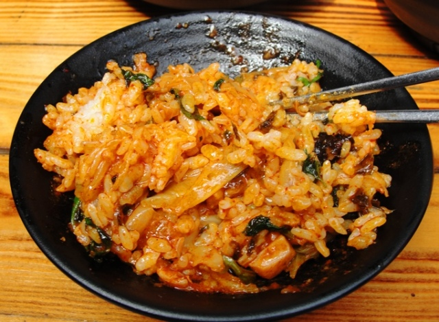 spicy marinated chicken, cabbage, sweet potatoes, onions and tteok - Dak Galbi - Rice - Vegetables - Chucheon Specialty