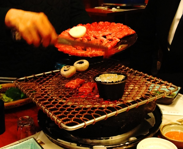 Korean BBQ - Charcoal Grill - Meat on Grill - Korean Food
