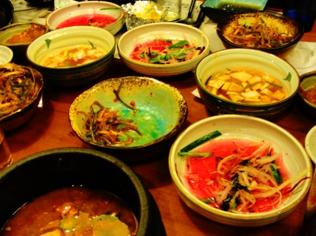 Korean BBQ - Small Dishes - meal finished - Korean Food - Remains of the Meal