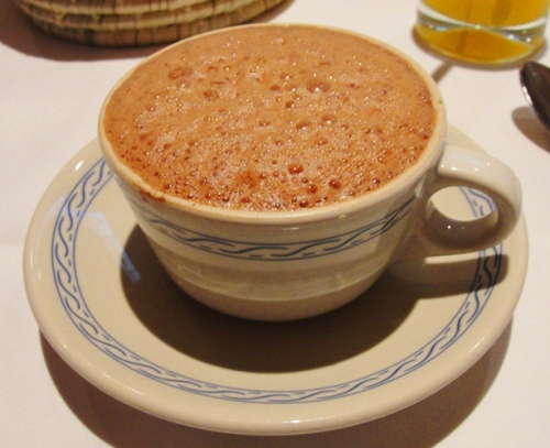 Frothed Mexican Hot Chocolate - Restaurant El Cardenal - traditional Mexican Breakfast - Mexican Hot Chocolate