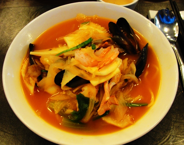 Seafood Noodles - Spicy Soup - Soup in Korea - Asian Food - Seafood Soup