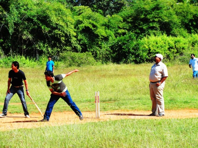 Cricket in India - Bangalore - Playground Cricket - Bowling - Stumps