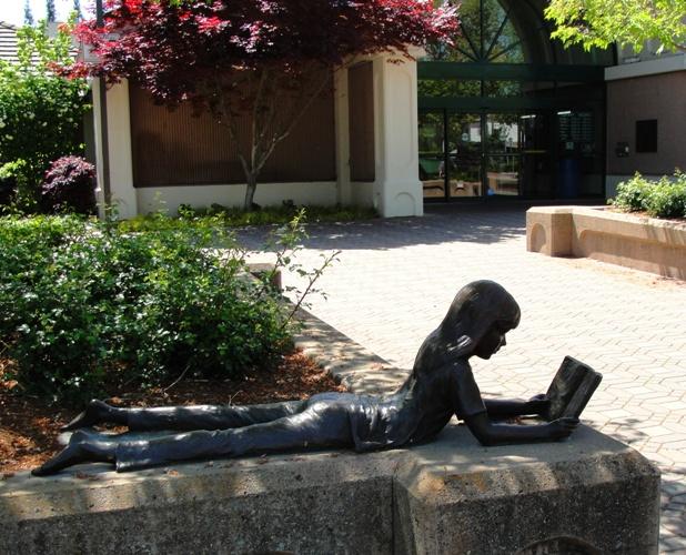 Girl Reading - Bronze Sculpture - Dennis Smith - Pleasanton, California - Library - Reading