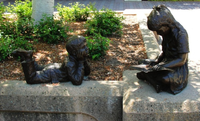 Once Upon a Time - Bronze Sculpture - Dennis Smith - Pleasanton, California - Library - Reading