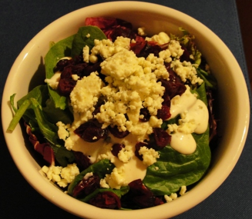 Spring Salad - Spring Greens - Spinach Leaves - Dried Cranberries - Amish Blue Cheese Crumbles