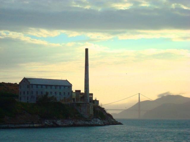Alcatraz Power House - Golden Gate Bridge - Sunset on San Francisco Bay