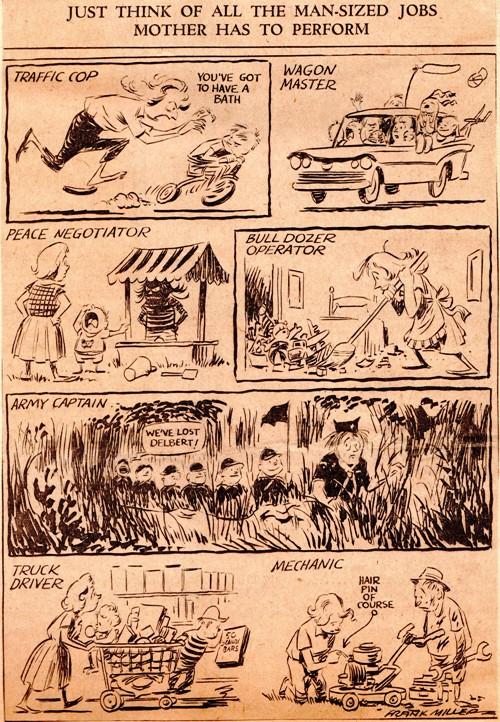 Mother's Day - Frank Andrea Miller - Frank Miller - editorial cartoon - Des Moines Register - Honoring Mothers - Multiple Jobs