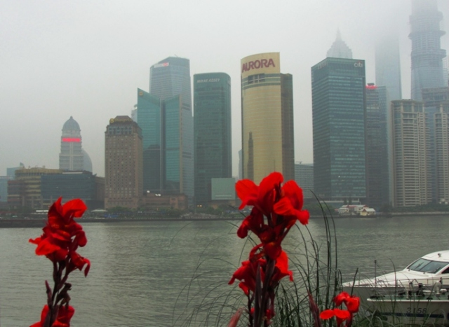 Shanghai Bund - Red Lily - Shangai, China - Skyscrapers - Skyline - riverside