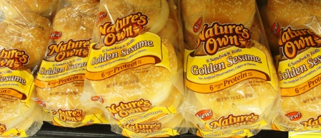 Natures Own Buns - Flowers Foods - Nature's Own Bread - Grocery - Golden Sesame