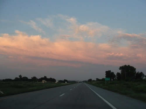 Missouri sunset - sunset - colorful sky - highway into sunset