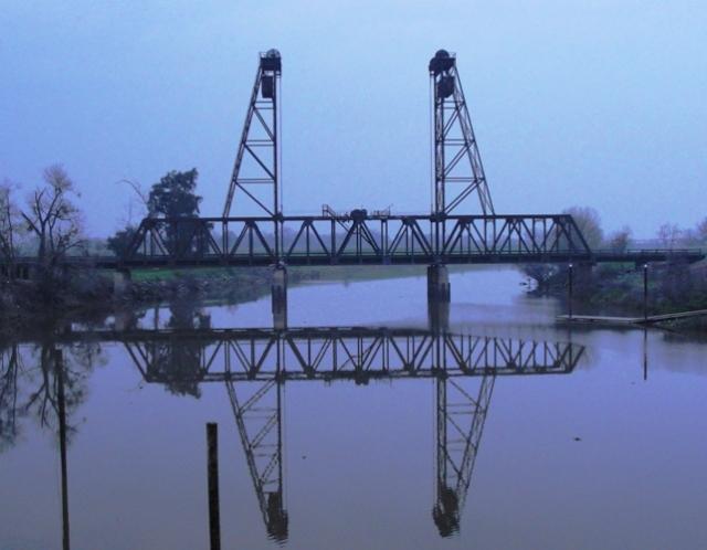 Mossdale Bridge - San Joaquin River - Final Link in Transcontinental Railroad - Railroad Bridge - Reflections - Vertical Lift Drawbridge