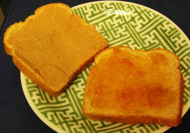 Jiff Peanut Butter - Homeade Apricot Preserves - PBJ - Home Pride Wheat - Flowers Foods