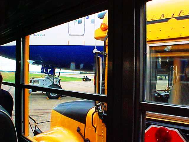 School Bus on Runway - September 11, 2001 - 9/11 - Edmonton, Canada - British Airways