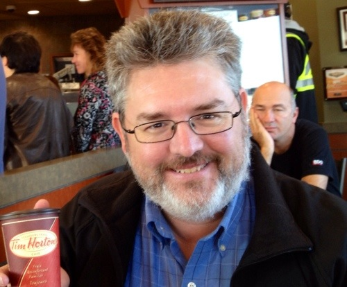 Photo Bombed at Tim Horton's, Jean Luc Picard, Star Wars, Star Trek, George Lucas