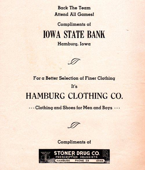 1960's Football Program - High School Football - Coca Cola - Hamburg, Iowa - Rockport, Missouri - Wildcats vs. Bluejays - Stoner Drug - Iowa State Bank - Hamburg Clothing