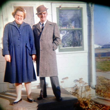 1960's - Iowa Winter Styles - Grandpa and Grandma - Frytown, Iowa