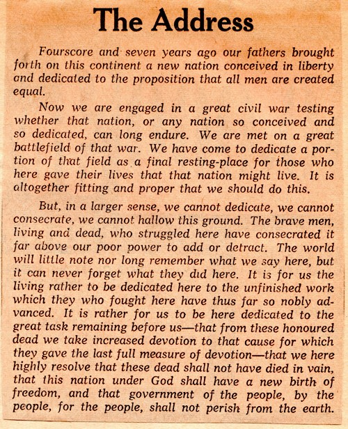 The Gettysburg Address Braman S Wanderings
