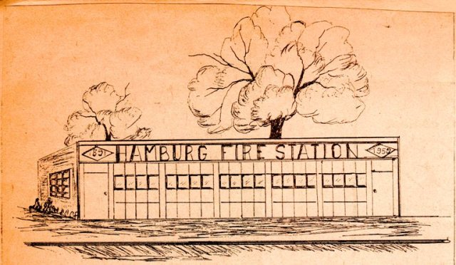 Hamburg, Iowa Fire Station - Fire Sation Line Drawing - History - Architectural Drawing