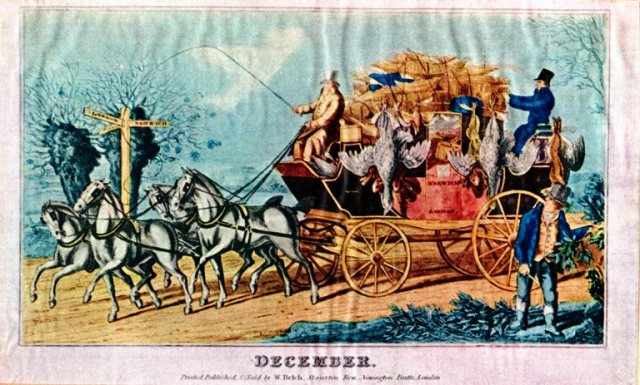W. Belch - December - London > Norwich - Horses and Coach - 12 Days of Christmas