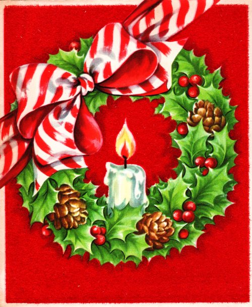Candle in Wreath - Classic Christmas Card - Holiday Wreath and Candle - Christmas - Peppermint Bow