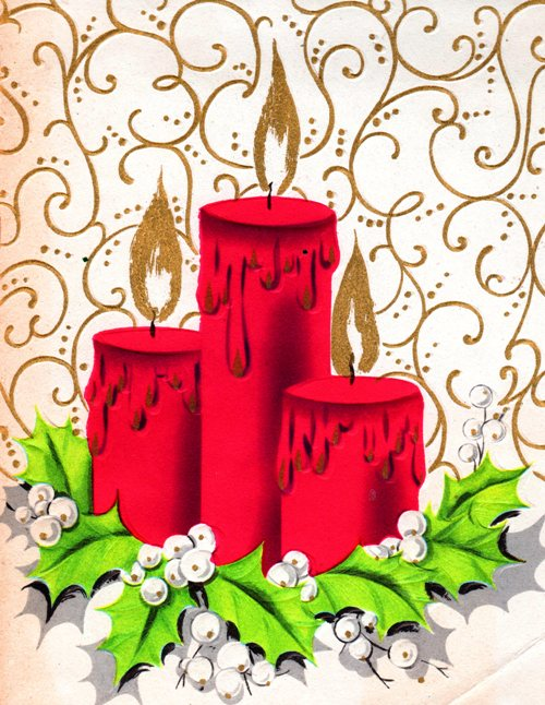Classic Christmas Card - Three Red Candles - Candles and Wreath - Red Candles - Holiday Cards
