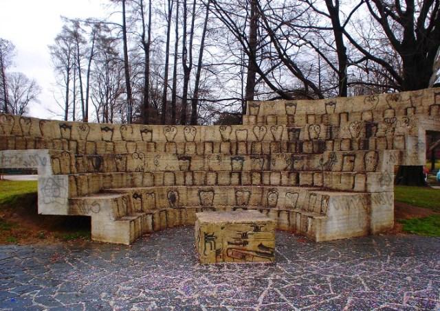 Sempione Park - Milan, Italy - Sculpture - Chairs in Concrete - Park Art - Milano Art