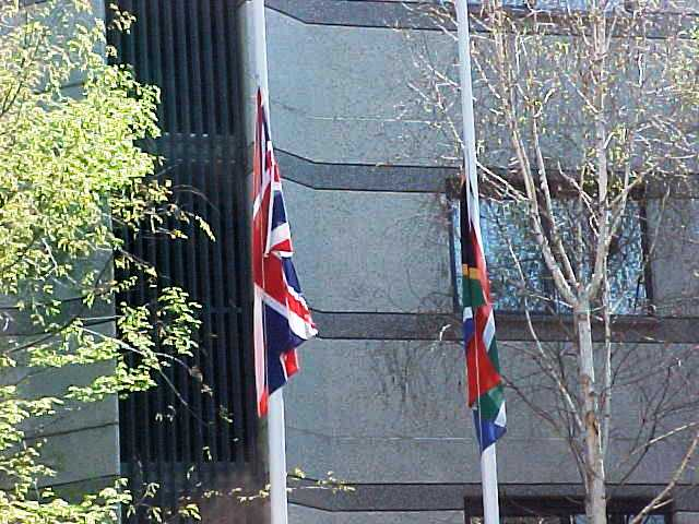 Flags in front of Hotel - South Africa Flag - UK Flag - Johannesburg, South Africa