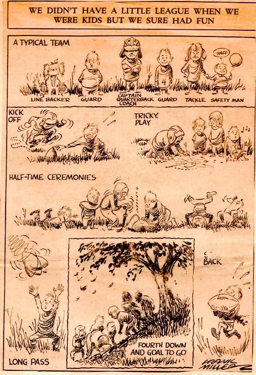 Football - Little League - Frank Miller - Frank Andrea Miller - Editorial Cartoon - Des Moines Register