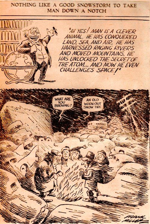 Frank Andrea Miller - Editorial Cartoon - Snow Tire - Des Moines Register - Snowstorm