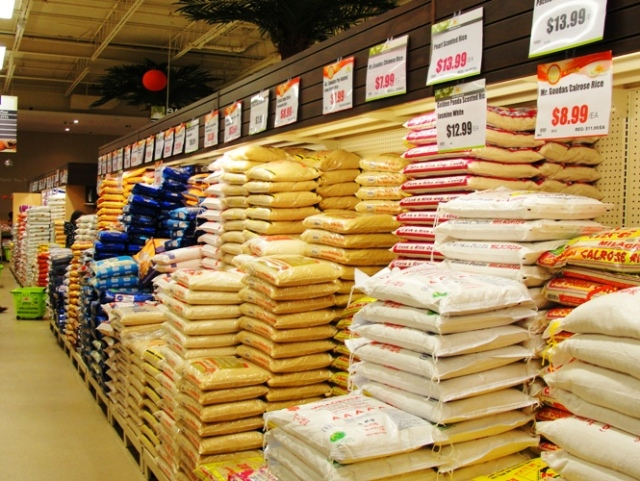 Large Rice Aisle - Large Bags of Rice - Canadian Grocery Store - Rice Selection - Bagged Rice