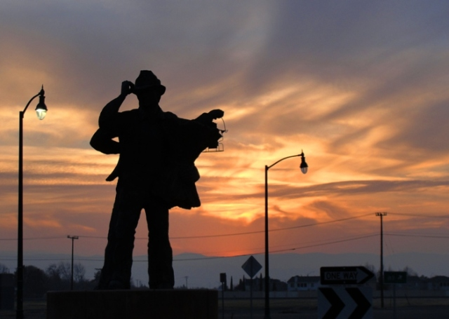 Harvest of Progress - Sculpture - Tracy, California - Sunset and Silhouettes