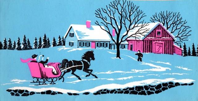 Winter Scene - Holiday Card - Christmas Card - Sleigh - Winter Farm - Blue Card